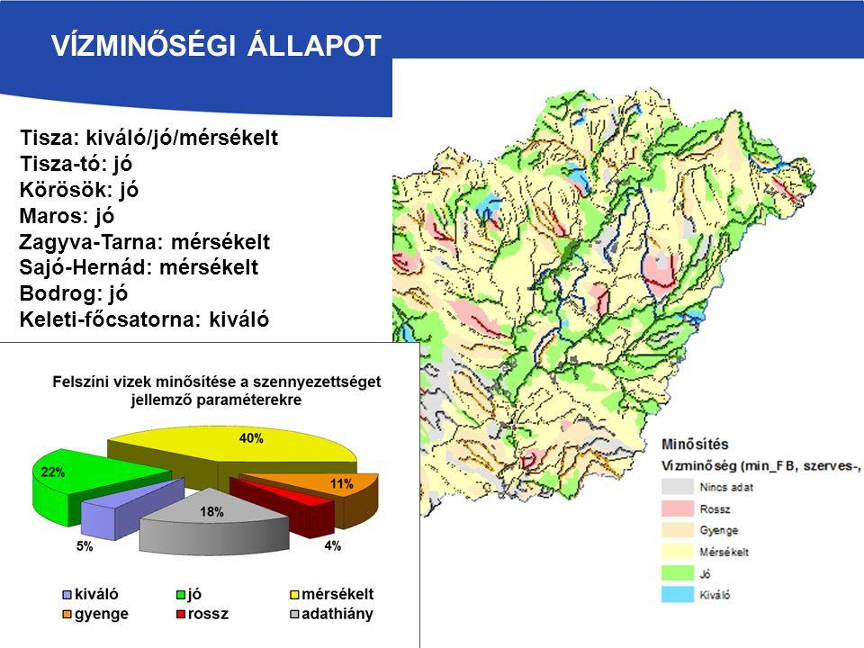 VÍZMINŐSÉGI ÁLLAPOT Tisza: kiváló/jó/mérsékelt Tisza-tó: jó Körösök: jó Maros: jó Zagyva-Tarna: mérsékelt Sajó-Hernád: mérsékelt Bodrog: jó Keleti-főc