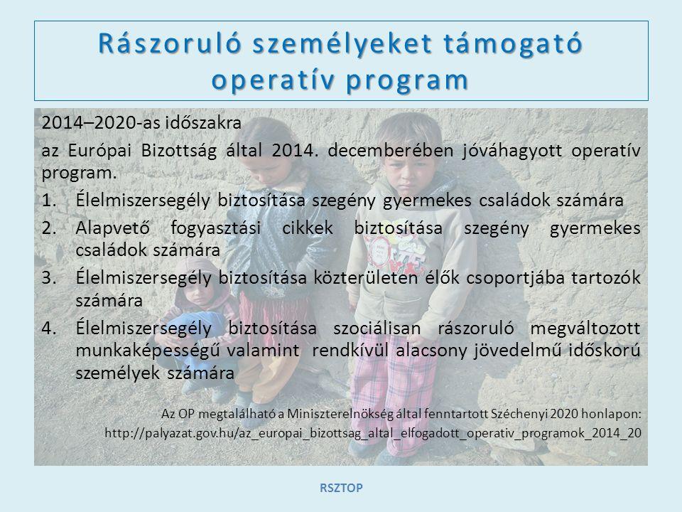 Rászoruló személyeket támogató operatív program 2014–2020-as időszakra az Európai Bizottság által 2014. decemberében jóváhagyott operatív program. 1.É