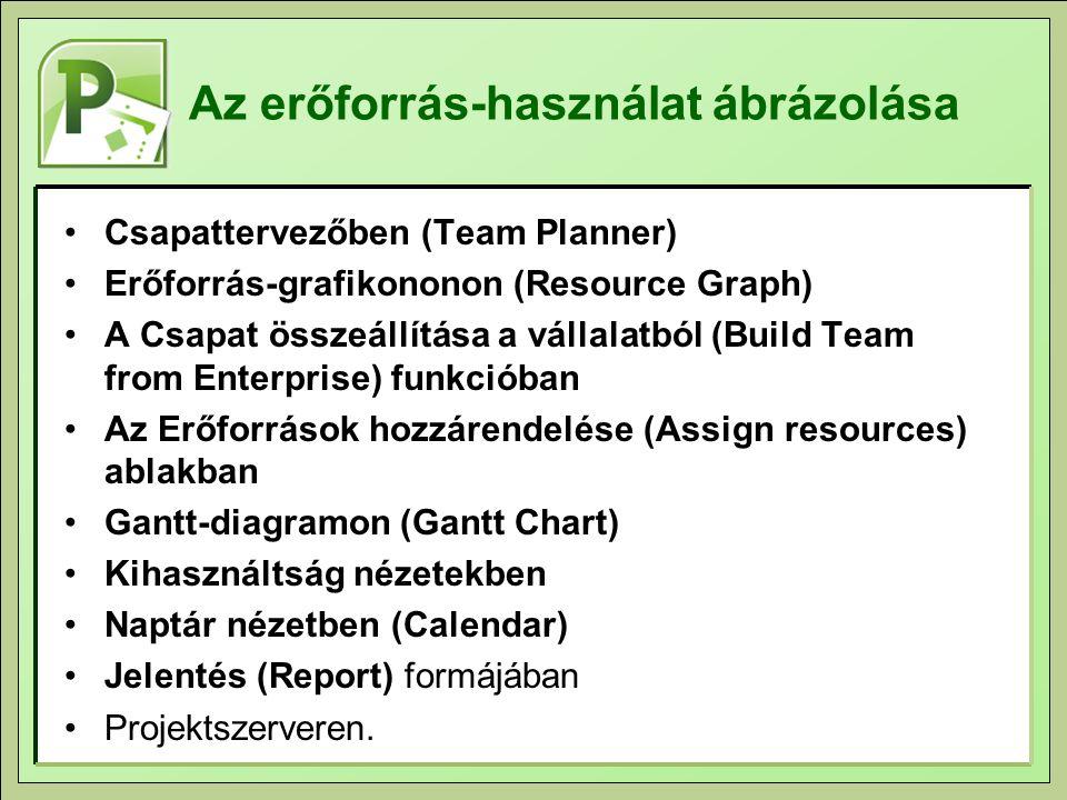 Az erőforrás-használat ábrázolása Csapattervezőben (Team Planner) Erőforrás-grafikononon (Resource Graph) A Csapat összeállítása a vállalatból (Build Team from Enterprise) funkcióban Az Erőforrások hozzárendelése (Assign resources) ablakban Gantt-diagramon (Gantt Chart) Kihasználtság nézetekben Naptár nézetben (Calendar) Jelentés (Report) formájában Projektszerveren.
