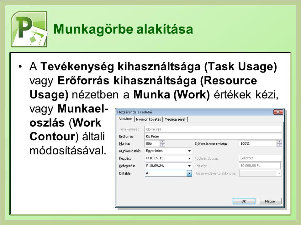 Munkagörbe alakítása A Tevékenység kihasználtsága (Task Usage) vagy Erőforrás kihasználtsága (Resource Usage) nézetben a Munka (Work) értékek kézi, vagy Munkael- oszlás (Work Contour) általi módosításával.