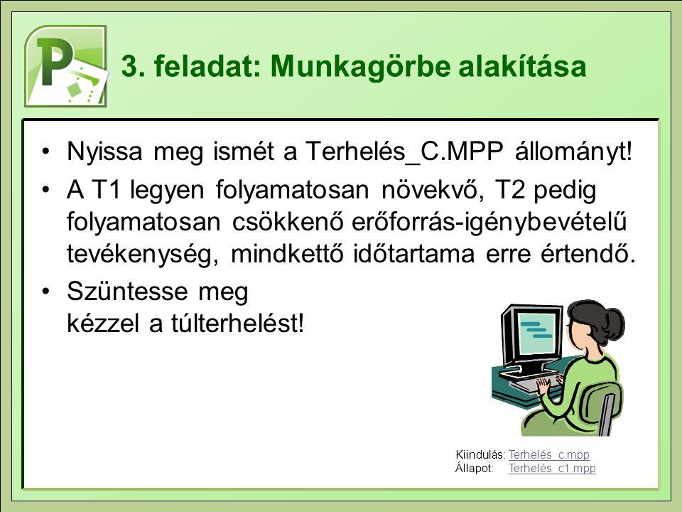3. feladat: Munkagörbe alakítása Nyissa meg ismét a Terhelés_C.MPP állományt! A T1 legyen folyamatosan növekvő, T2 pedig folyamatosan csökkenő erőforr