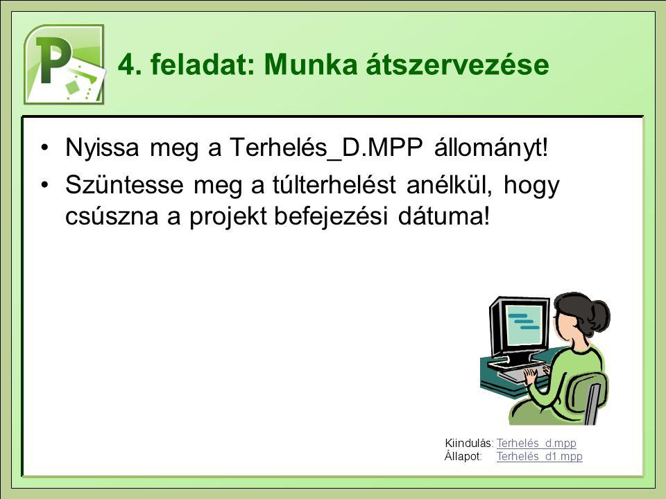 4. feladat: Munka átszervezése Nyissa meg a Terhelés_D.MPP állományt! Szüntesse meg a túlterhelést anélkül, hogy csúszna a projekt befejezési dátuma!