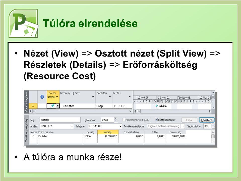 Túlóra elrendelése Nézet (View) => Osztott nézet (Split View) => Részletek (Details) => Erőforrásköltség (Resource Cost) A túlóra a munka része!