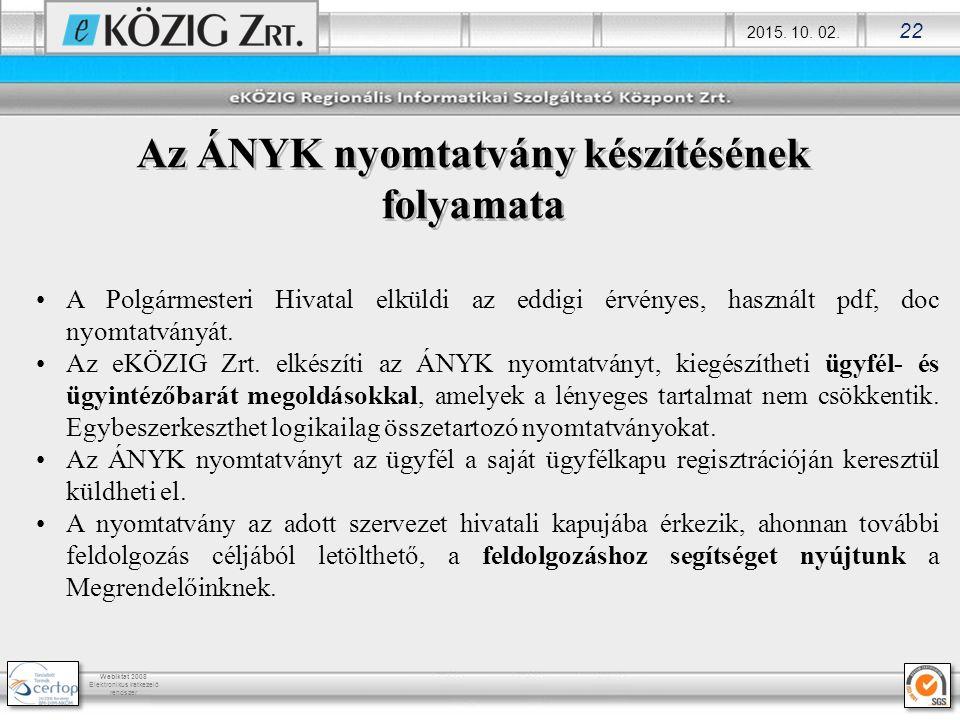 2015. 10. 02. 22 Webiktat 2008 Elektronikus iratkezelő rendszer Az ÁNYK nyomtatvány készítésének folyamata A Polgármesteri Hivatal elküldi az eddigi é
