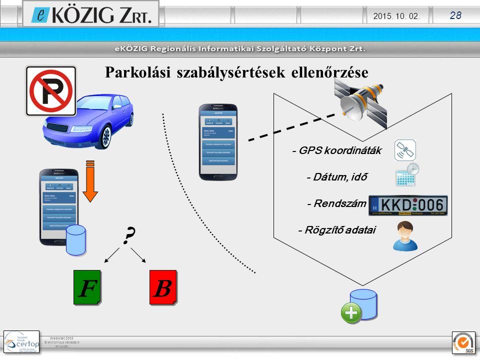 2015. 10. 02. 28 Webiktat 2008 Elektronikus iratkezelő rendszer Parkolási szabálysértések ellenőrzése BF ? - GPS koordináták - Dátum, idő - Rendszám -