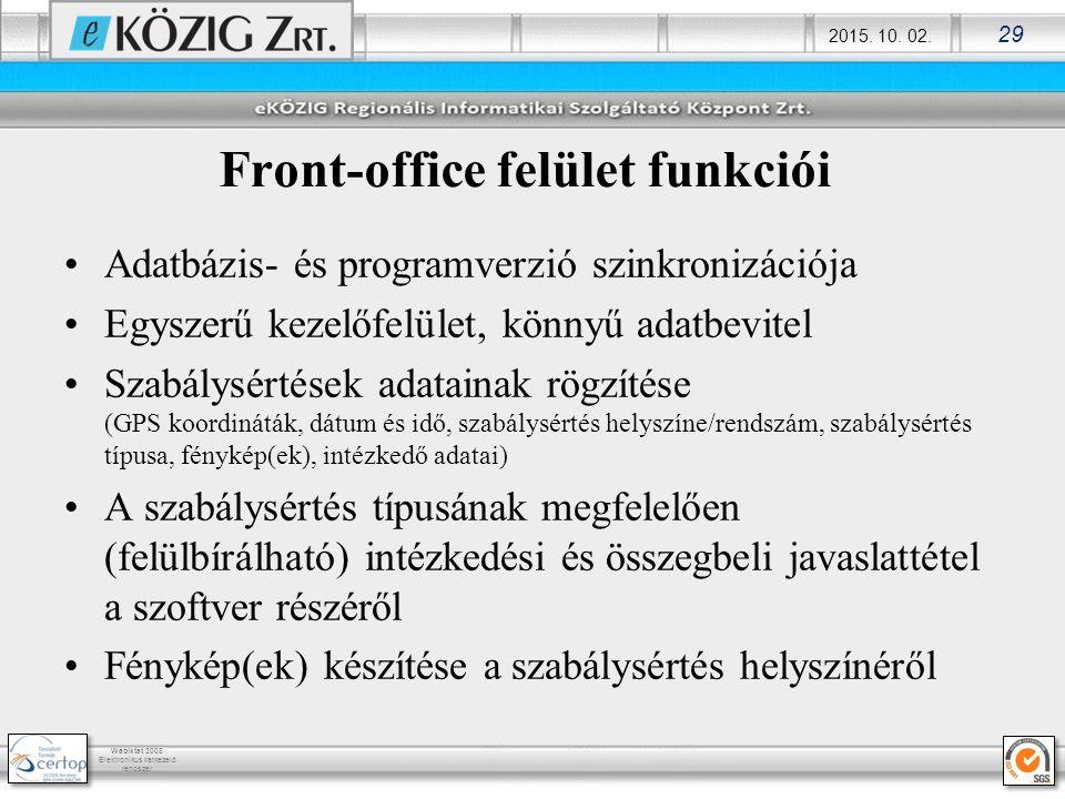 2015. 10. 02. 29 Webiktat 2008 Elektronikus iratkezelő rendszer Front-office felület funkciói Adatbázis- és programverzió szinkronizációja Egyszerű ke
