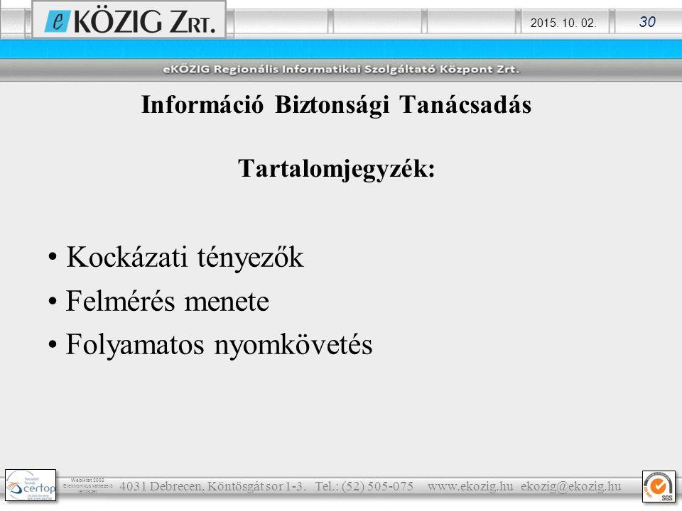 2015. 10. 02. 30 Webiktat 2008 Elektronikus iratkezelő rendszer Információ Biztonsági Tanácsadás Tartalomjegyzék: Kockázati tényezők Felmérés menete F