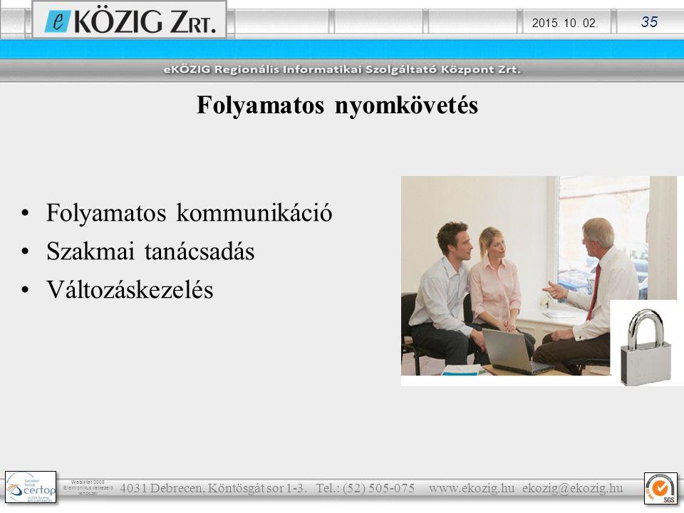 2015. 10. 02. 35 Webiktat 2008 Elektronikus iratkezelő rendszer Folyamatos kommunikáció Szakmai tanácsadás Változáskezelés 4031 Debrecen, Köntösgát so