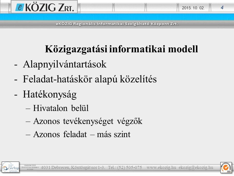 2015. 10. 02. 4 Webiktat 2008 Elektronikus iratkezelő rendszer Közigazgatási informatikai modell -Alapnyilvántartások -Feladat-hatáskör alapú közelíté