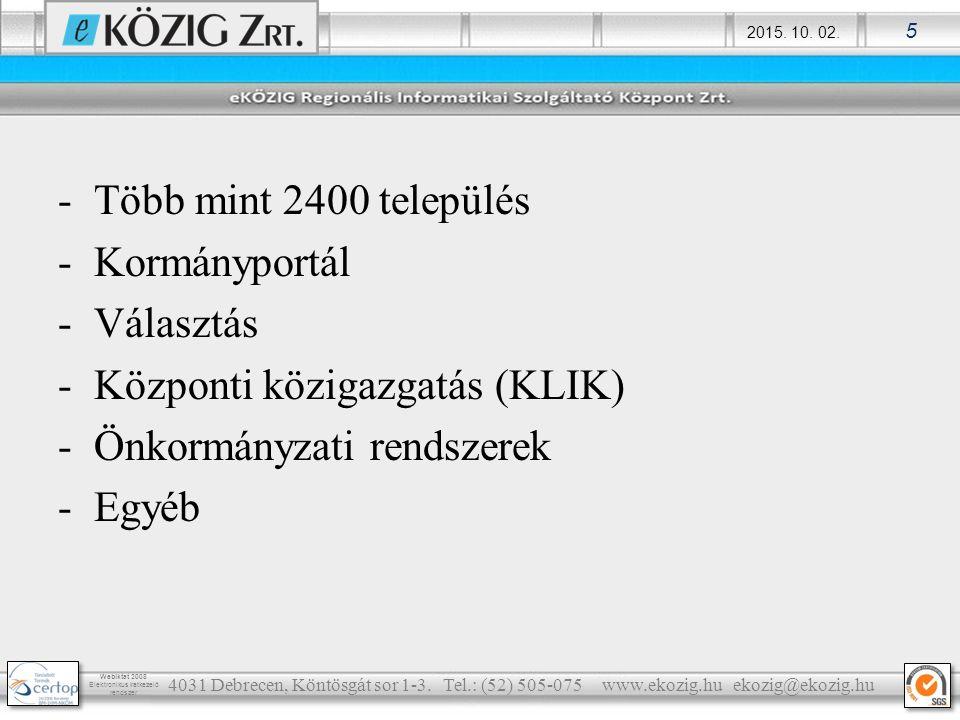 2015. 10. 02. 5 Webiktat 2008 Elektronikus iratkezelő rendszer -Több mint 2400 település -Kormányportál -Választás -Központi közigazgatás (KLIK) -Önko