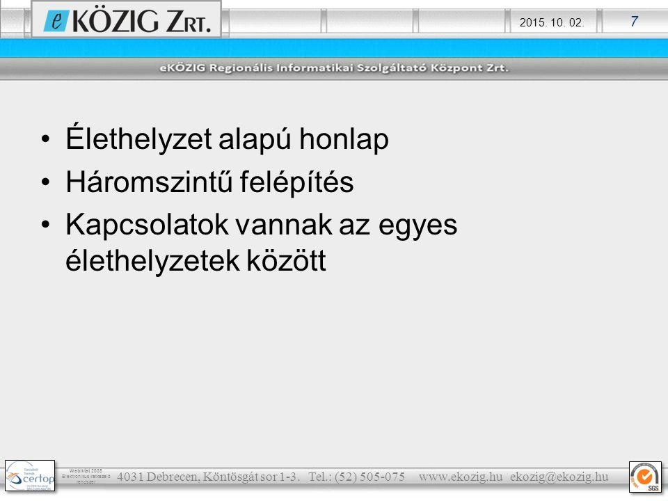 2015.10. 02. 8 Webiktat 2008 Elektronikus iratkezelő rendszer 4031 Debrecen, Köntösgát sor 1-3.