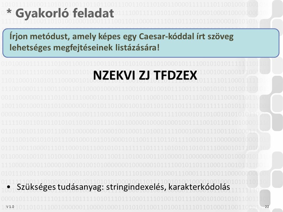 V 1.0 * Gyakorló feladat 22 Írjon metódust, amely képes egy Caesar-kóddal írt szöveg lehetséges megfejtéseinek listázására.