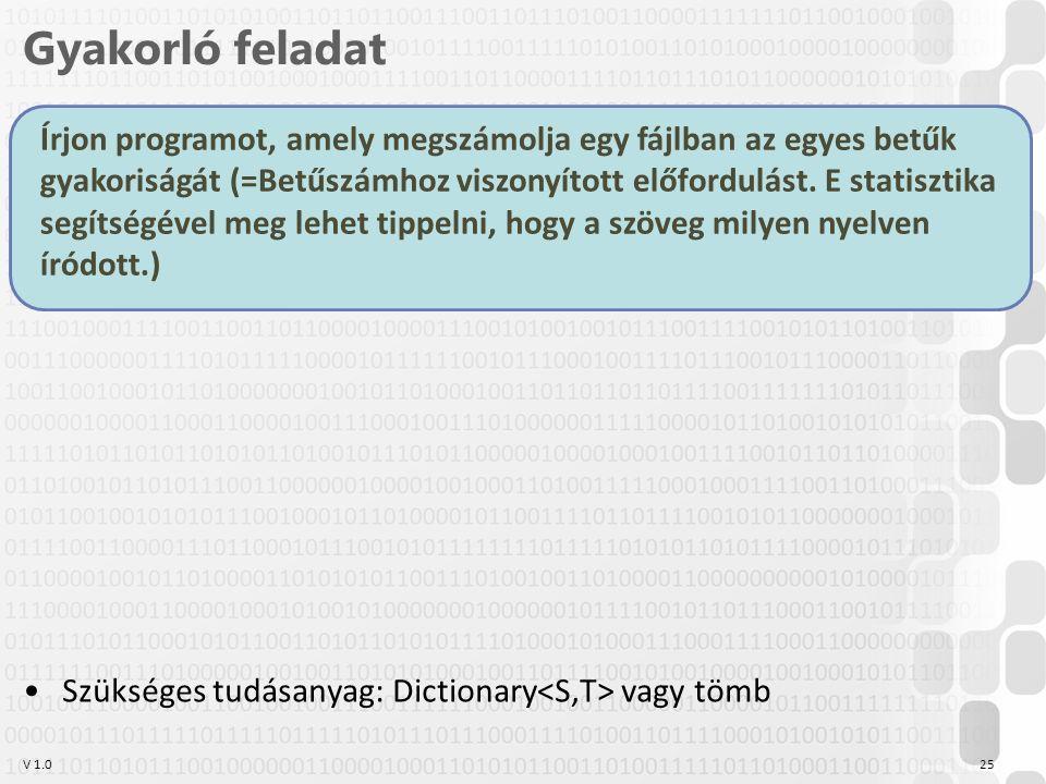 V 1.0 Gyakorló feladat 25 Írjon programot, amely megszámolja egy fájlban az egyes betűk gyakoriságát (=Betűszámhoz viszonyított előfordulást.
