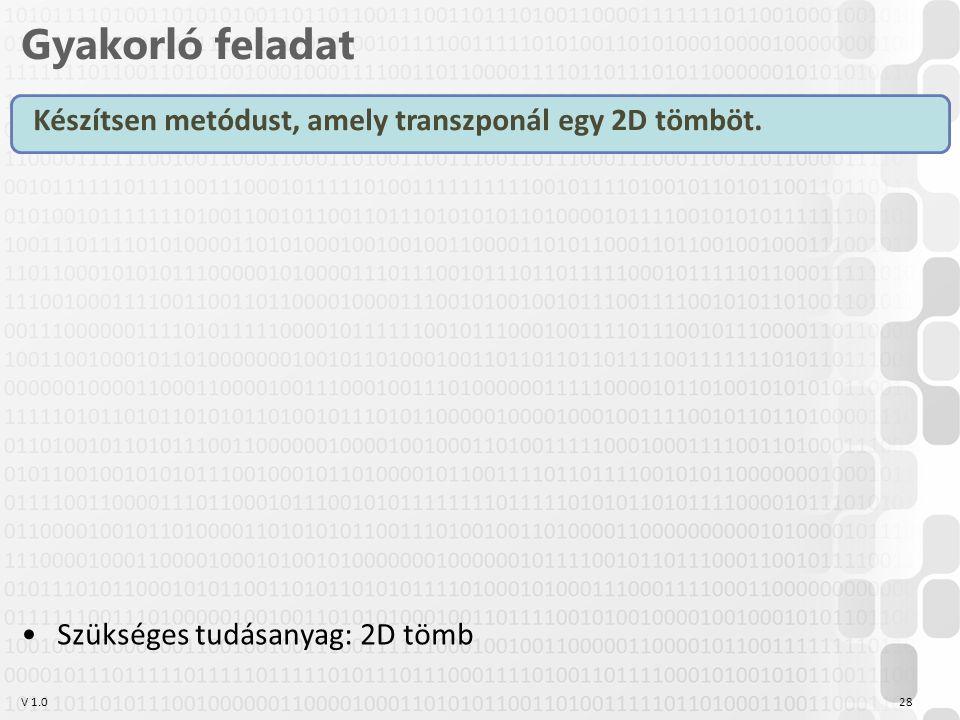 V 1.0 Gyakorló feladat 28 Készítsen metódust, amely transzponál egy 2D tömböt.