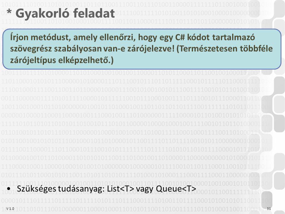 V 1.0 * Gyakorló feladat 31 Írjon metódust, amely ellenőrzi, hogy egy C# kódot tartalmazó szövegrész szabályosan van-e zárójelezve.