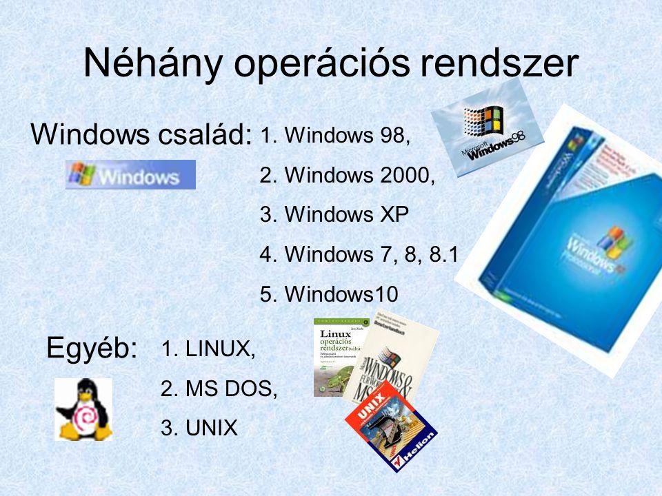 Néhány operációs rendszer 1.Windows 98, 2.Windows 2000, 3.Windows XP 4.Windows 7, 8, 8.1 5.Windows10 Windows család: Egyéb: 1.LINUX, 2.MS DOS, 3.UNIX