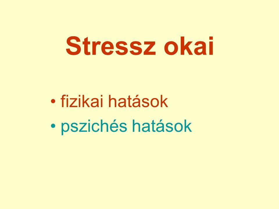 Stressz okai fizikai hatások pszichés hatások