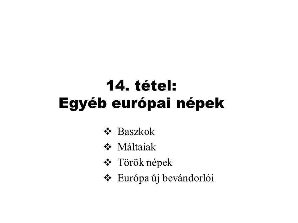 14. tétel: Egyéb európai népek  Baszkok  Máltaiak  Török népek  Európa új bevándorlói