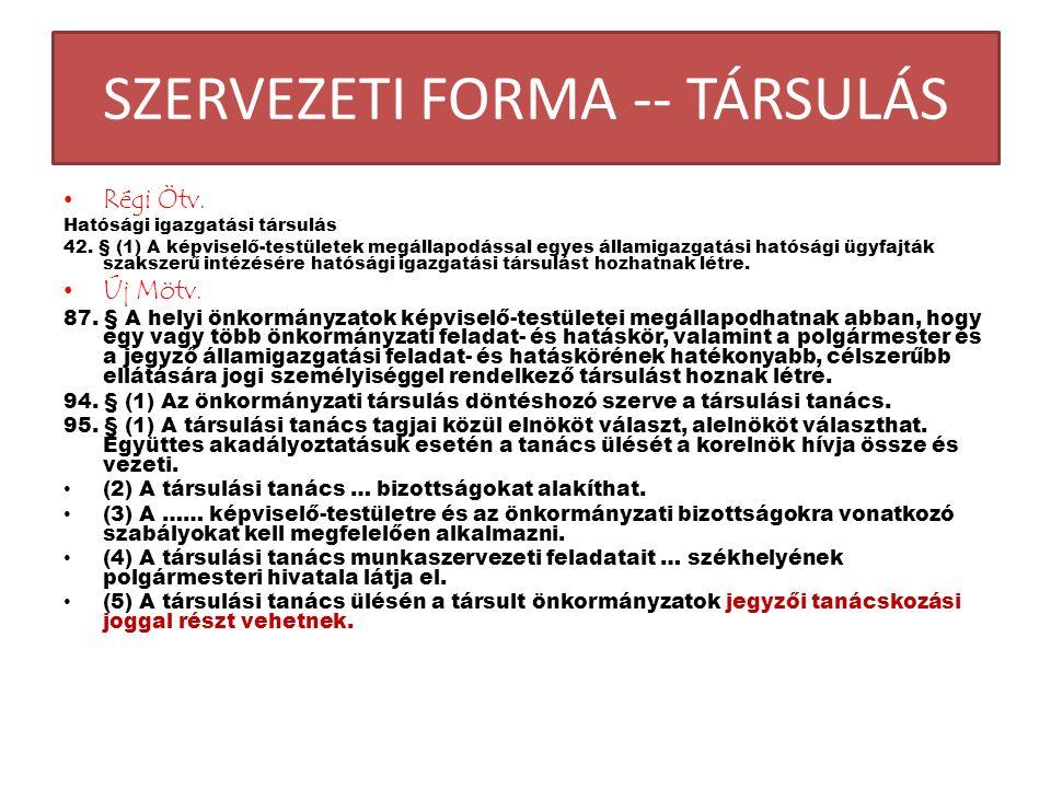 SZERVEZETI FORMA -- TÁRSULÁS Régi Ötv. Hatósági igazgatási társulás 42.
