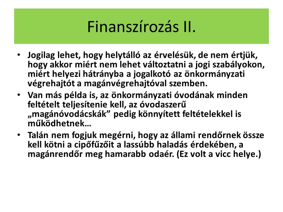 Finanszírozás II.