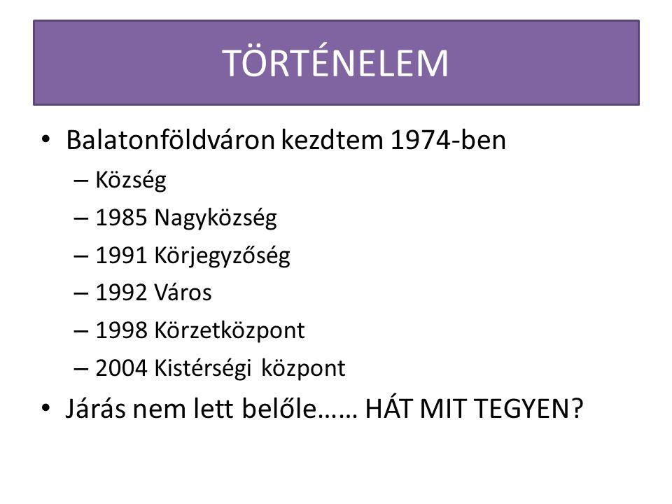 TÖRTÉNELEM Balatonföldváron kezdtem 1974-ben – Község – 1985 Nagyközség – 1991 Körjegyzőség – 1992 Város – 1998 Körzetközpont – 2004 Kistérségi központ Járás nem lett belőle…… HÁT MIT TEGYEN?