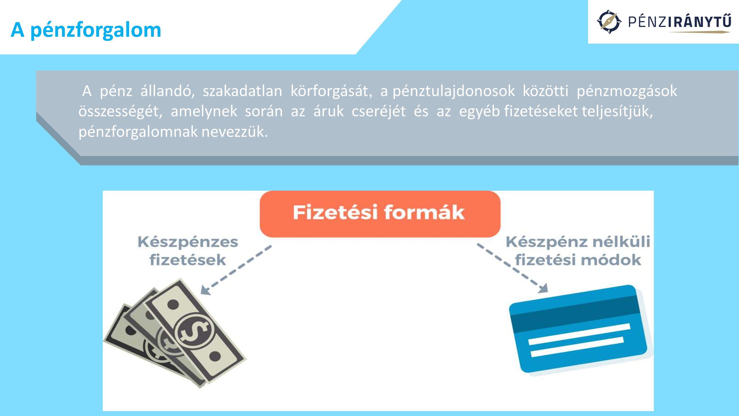 A pénzforgalom A pénz állandó, szakadatlan körforgását, a pénztulajdonosok közötti pénzmozgások összességét, amelynek során az áruk cseréjét és az egy