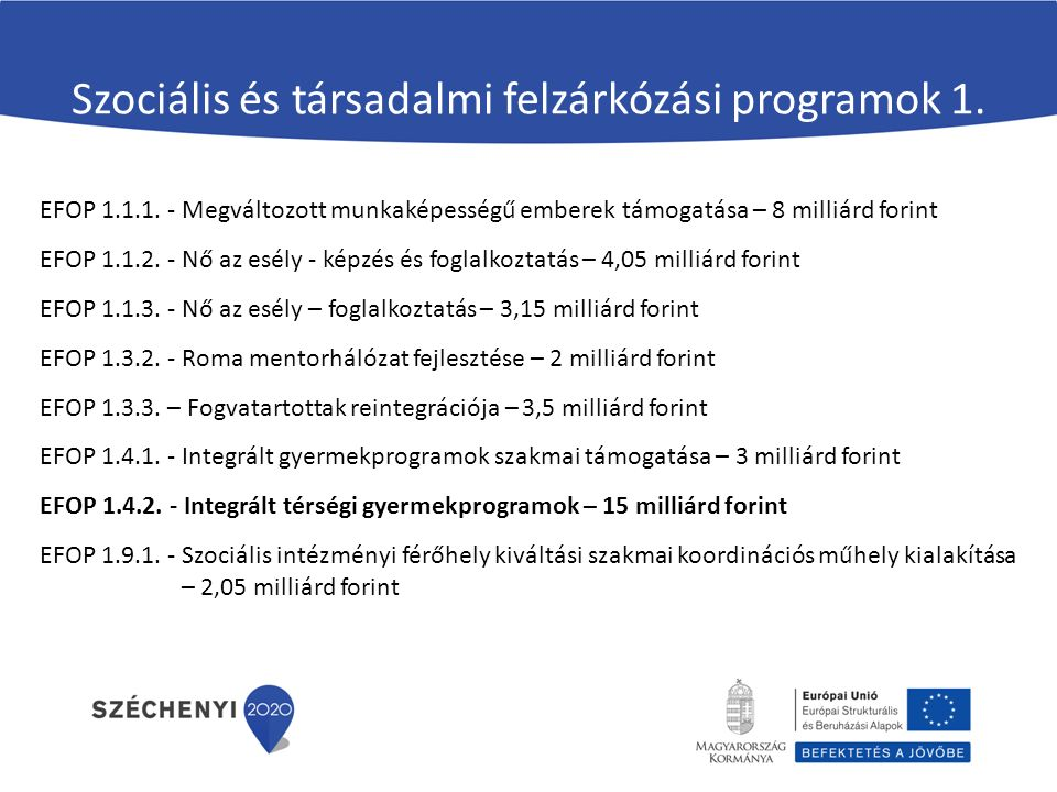 Szociális és társadalmi felzárkózási programok 1. EFOP 1.1.1. - Megváltozott munkaképességű emberek támogatása – 8 milliárd forint EFOP 1.1.2. - Nő az