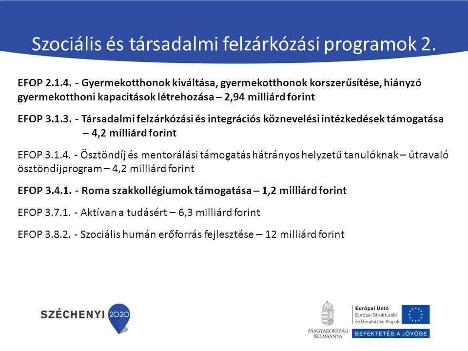 Szociális és társadalmi felzárkózási programok 2. EFOP 2.1.4. - Gyermekotthonok kiváltása, gyermekotthonok korszerűsítése, hiányzó gyermekotthoni kapa