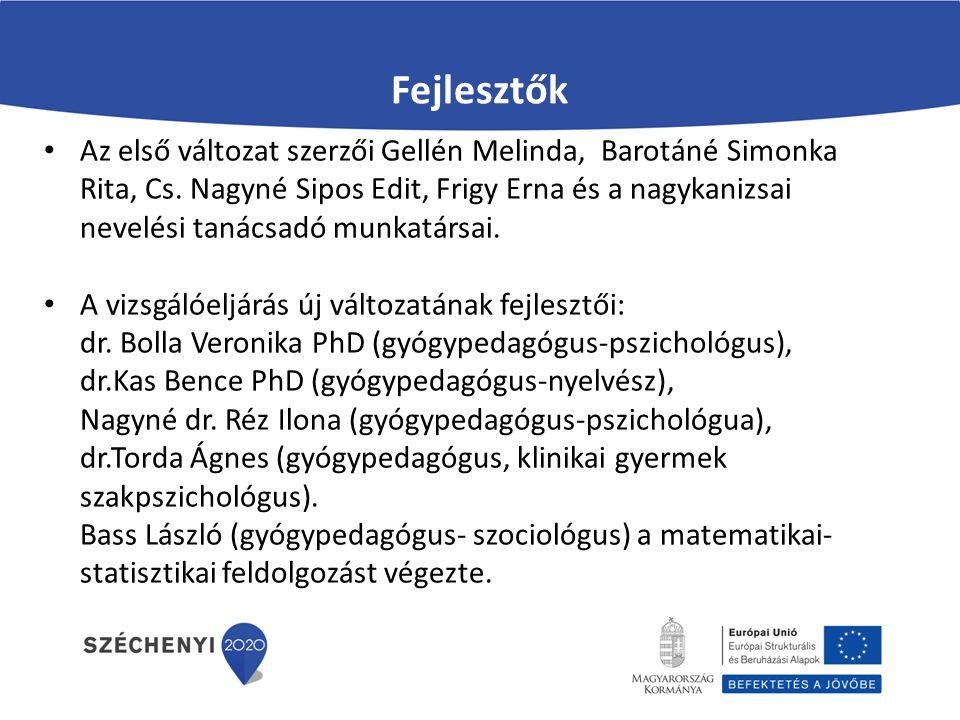 Fejlesztők Az első változat szerzői Gellén Melinda, Barotáné Simonka Rita, Cs. Nagyné Sipos Edit, Frigy Erna és a nagykanizsai nevelési tanácsadó munk