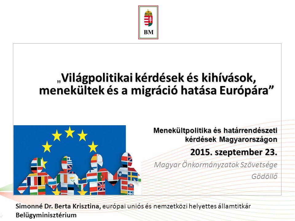 """"""" Világpolitikai kérdések és kihívások, menekültek és a migráció hatása Európára"""" Simonné Dr. Berta Krisztina, európai uniós és nemzetközi helyettes á"""