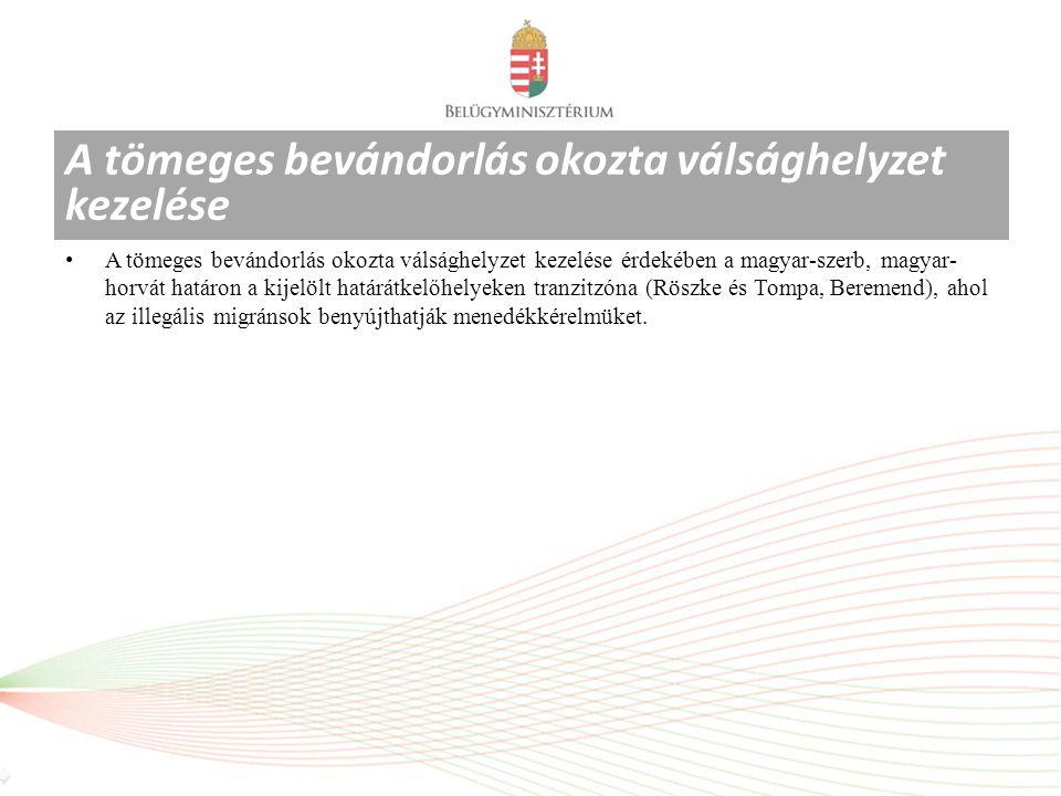 A tömeges bevándorlás okozta válsághelyzet kezelése érdekében a magyar-szerb, magyar- horvát határon a kijelölt határátkelőhelyeken tranzitzóna (Röszke és Tompa, Beremend), ahol az illegális migránsok benyújthatják menedékkérelmüket.