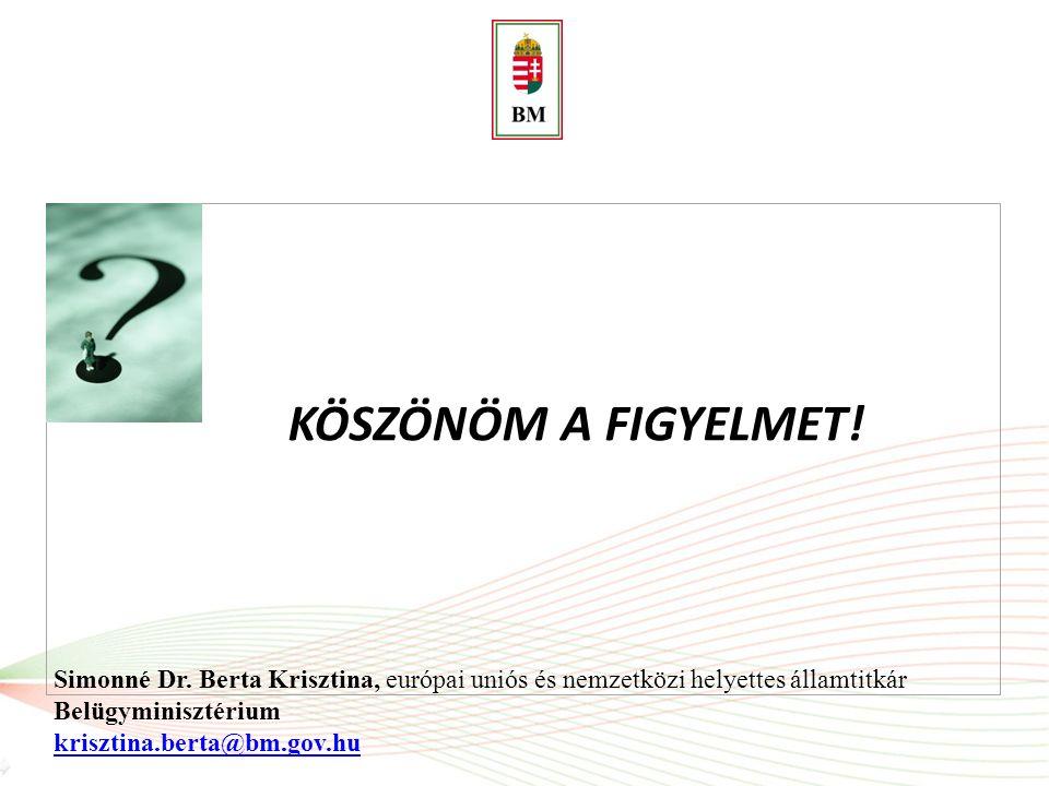 KÖSZÖNÖM A FIGYELMET! Simonné Dr. Berta Krisztina, európai uniós és nemzetközi helyettes államtitkár Belügyminisztérium krisztina.berta@bm.gov.hu