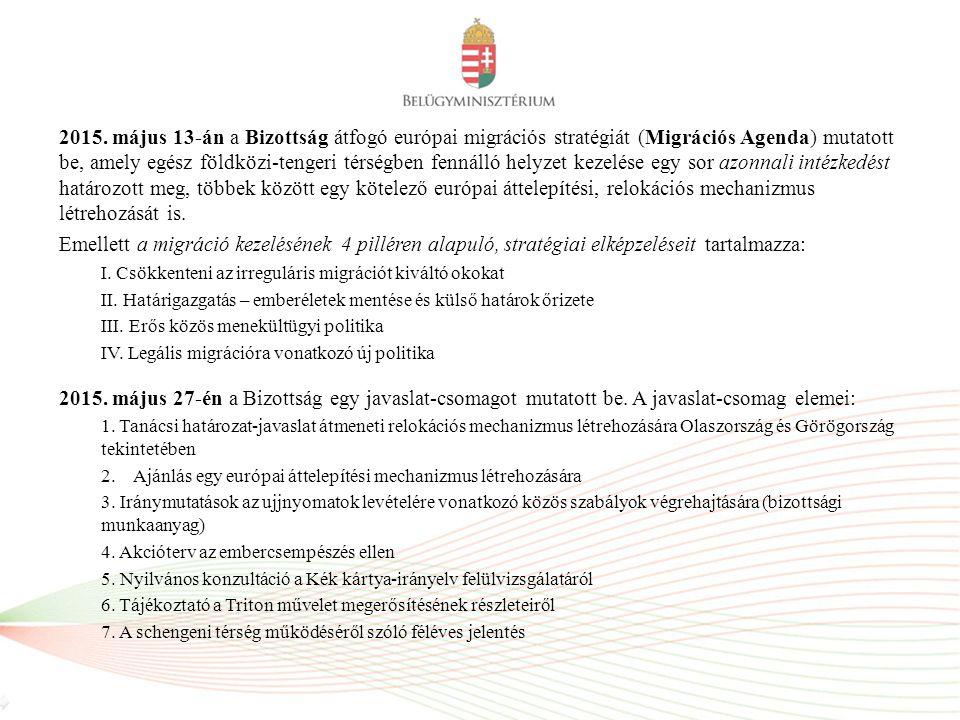 2015. május 13-án a Bizottság átfogó európai migrációs stratégiát (Migrációs Agenda) mutatott be, amely egész földközi-tengeri térségben fennálló hely
