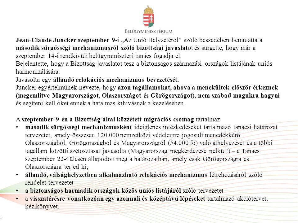 """Jean-Claude Juncker szeptember 9-i """"Az Unió Helyzetéről"""" szóló beszédében bemutatta a második sürgősségi mechanizmusról szóló bizottsági javaslatot és"""