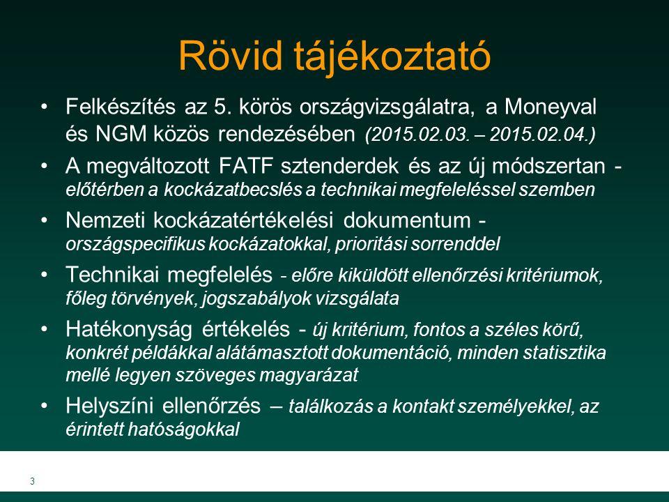 Rövid tájékoztató Felkészítés az 5. körös országvizsgálatra, a Moneyval és NGM közös rendezésében (2015.02.03. – 2015.02.04.) A megváltozott FATF szte