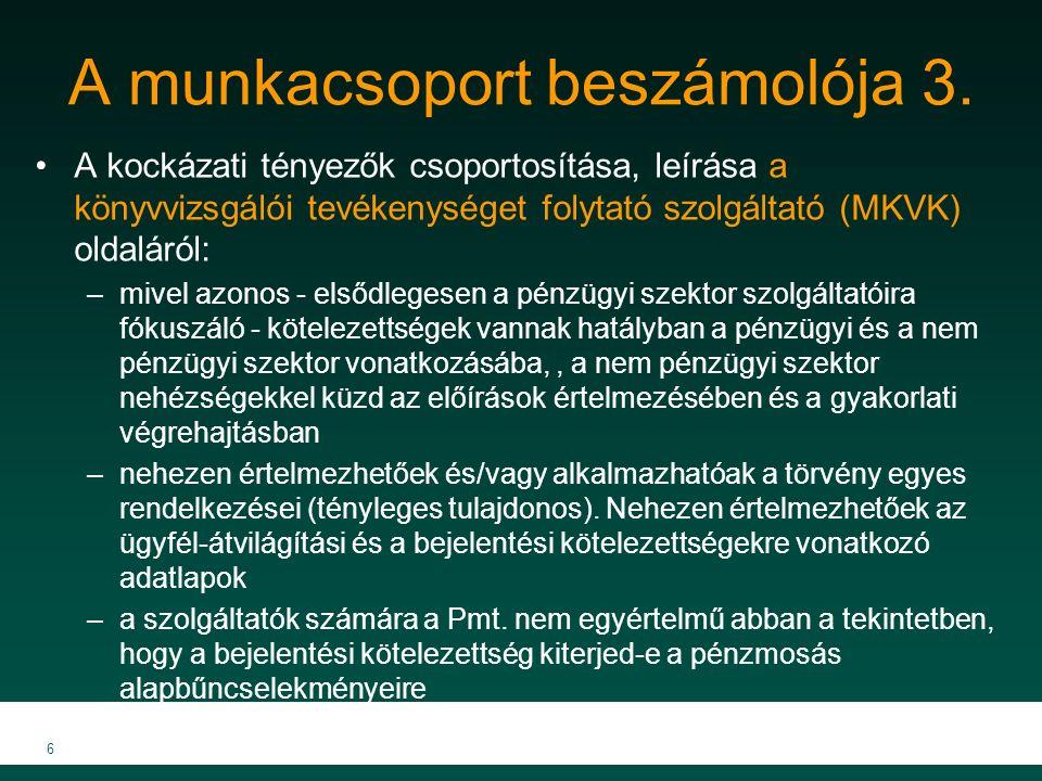 A munkacsoport beszámolója 3. A kockázati tényezők csoportosítása, leírása a könyvvizsgálói tevékenységet folytató szolgáltató (MKVK) oldaláról: –mive