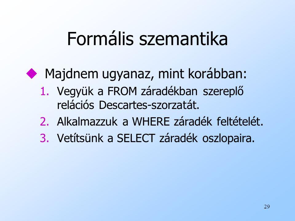 29 Formális szemantika uMajdnem ugyanaz, mint korábban: 1.Vegyük a FROM záradékban szereplő relációs Descartes-szorzatát. 2.Alkalmazzuk a WHERE záradé