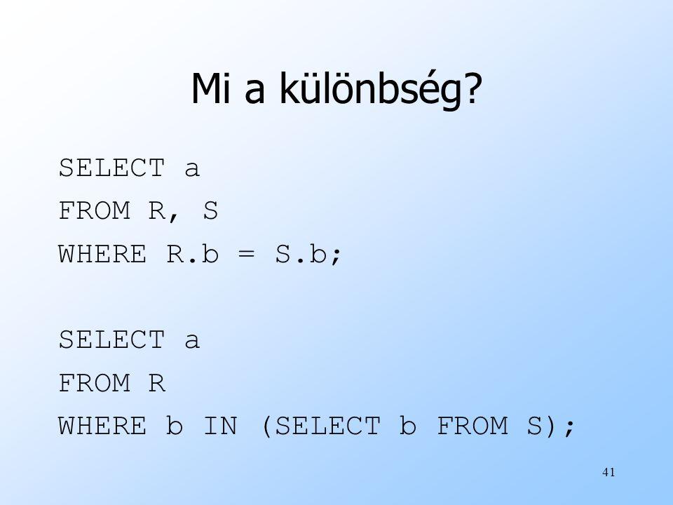 41 Mi a különbség? SELECT a FROM R, S WHERE R.b = S.b; SELECT a FROM R WHERE b IN (SELECT b FROM S);