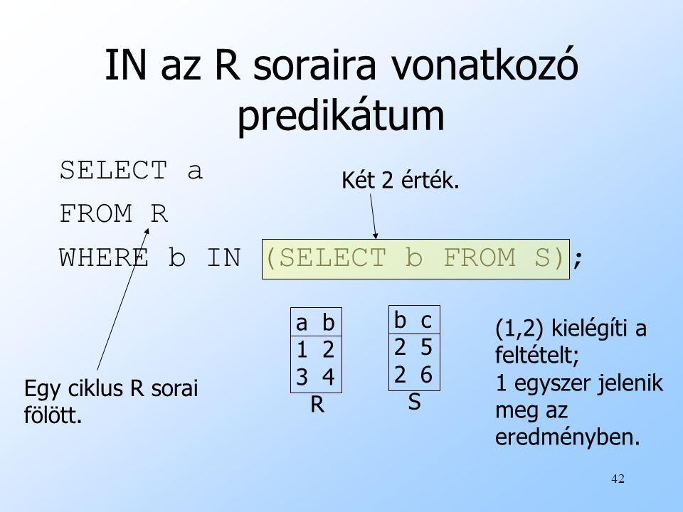42 IN az R soraira vonatkozó predikátum SELECT a FROM R WHERE b IN (SELECT b FROM S); Egy ciklus R sorai fölött. a b 1 2 3 4 R b c 2 5 2 6 S (1,2) kie