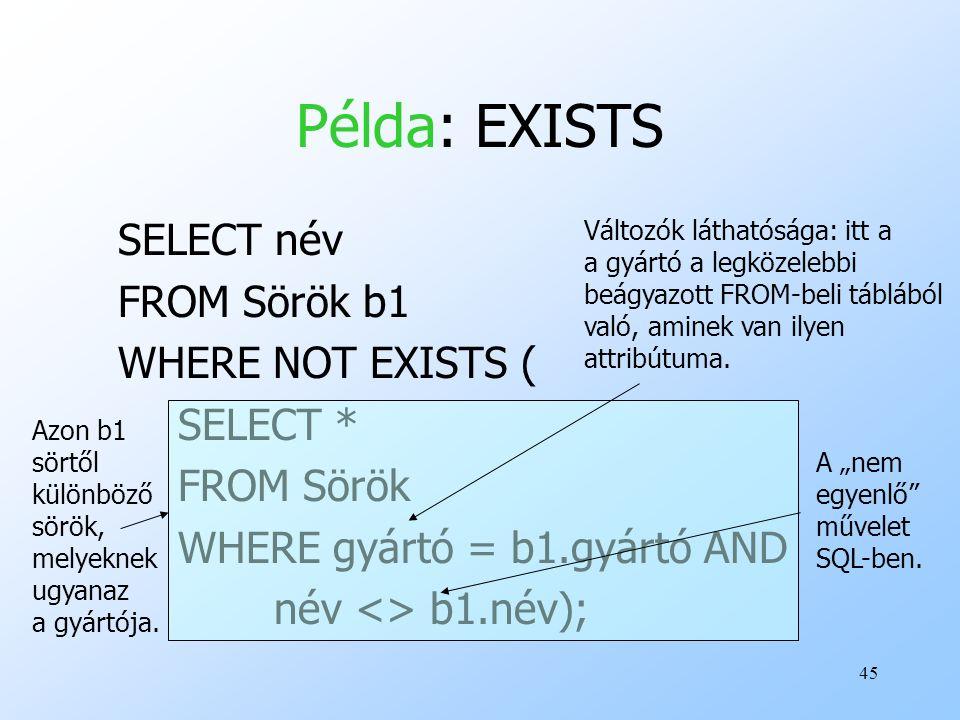 45 Példa: EXISTS SELECT név FROM Sörök b1 WHERE NOT EXISTS ( SELECT * FROM Sörök WHERE gyártó = b1.gyártó AND név <> b1.név); Azon b1 sörtől különböző sörök, melyeknek ugyanaz a gyártója.