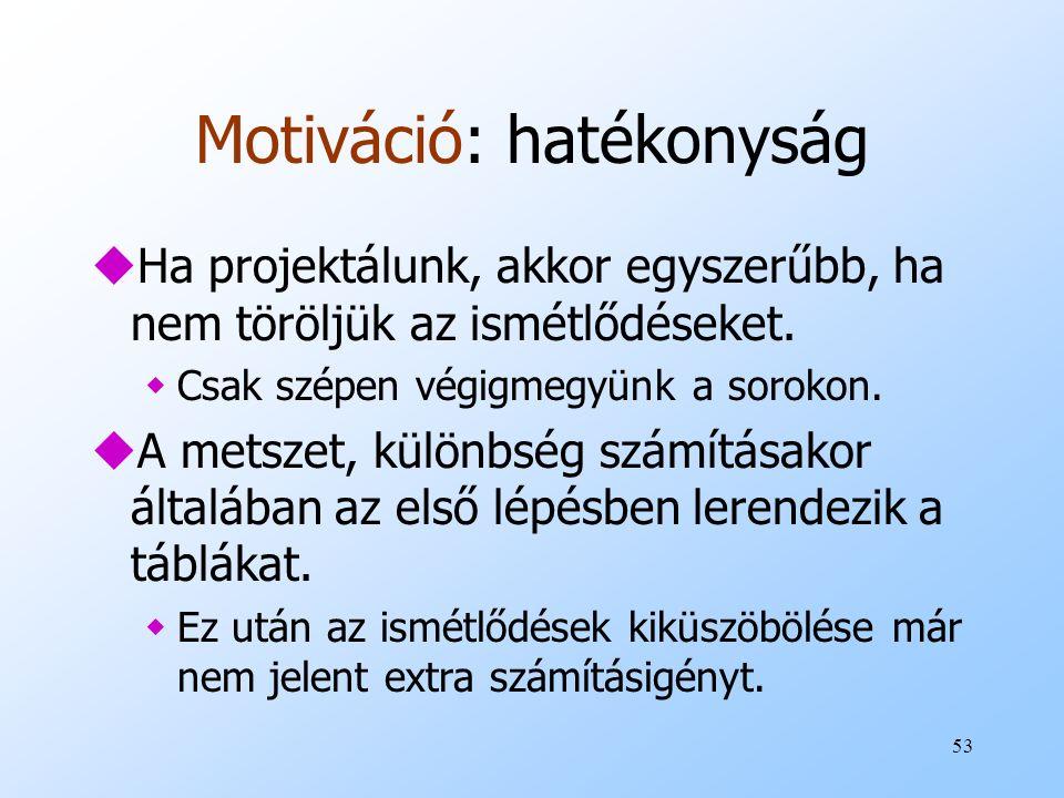 53 Motiváció: hatékonyság uHa projektálunk, akkor egyszerűbb, ha nem töröljük az ismétlődéseket. wCsak szépen végigmegyünk a sorokon. uA metszet, külö