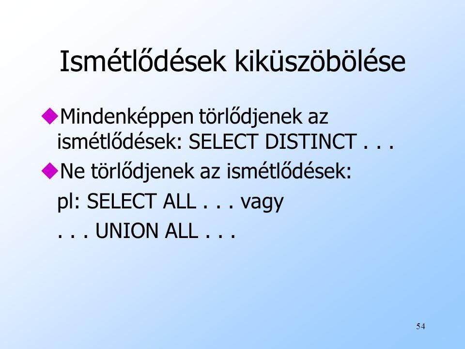 54 Ismétlődések kiküszöbölése uMindenképpen törlődjenek az ismétlődések: SELECT DISTINCT... uNe törlődjenek az ismétlődések: pl: SELECT ALL... vagy...