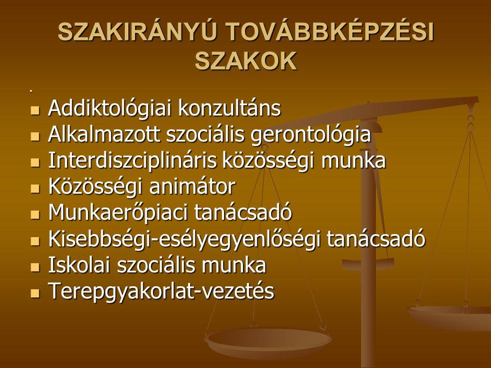SZAKIRÁNYÚ TOVÁBBKÉPZÉSI SZAKOK Addiktológiai konzultáns Addiktológiai konzultáns Alkalmazott szociális gerontológia Alkalmazott szociális gerontológi