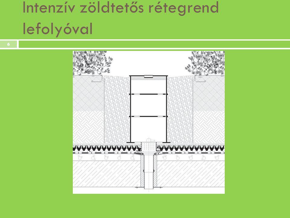 Zöldtetős ingatlanok előnyei  az ingatlan értékének növekedése  hűtő-fűtő hatás, szigetelő lemez védelme (fizikai, kémiai, biológiai)  hőszigetelő képesség növelése  a szerkezet lépés- és hanggátlásának növelése  kevesebb esővizet kell a csatornába engedni  pozitív képet sugall a tulajdonosról  egy esztétikus és kellemes plusz élettér 7