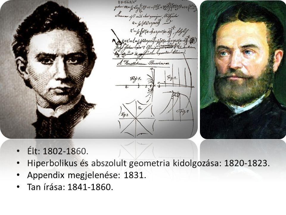 Élt: 1802-1860.Hiperbolikus és abszolult geometria kidolgozása: 1820-1823.