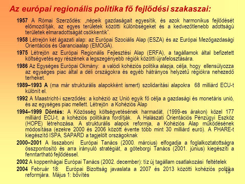 """10 Az európai regionális politika fő fejlődési szakaszai: 1957 A Római Szerződés: """"népeik gazdaságait egyesítik, és azok harmonikus fejlődését előmozdítják, az egyes területek közötti különbségeket és a kedvezőtlenebb adottságú területek elmaradottságát csökkentik ."""