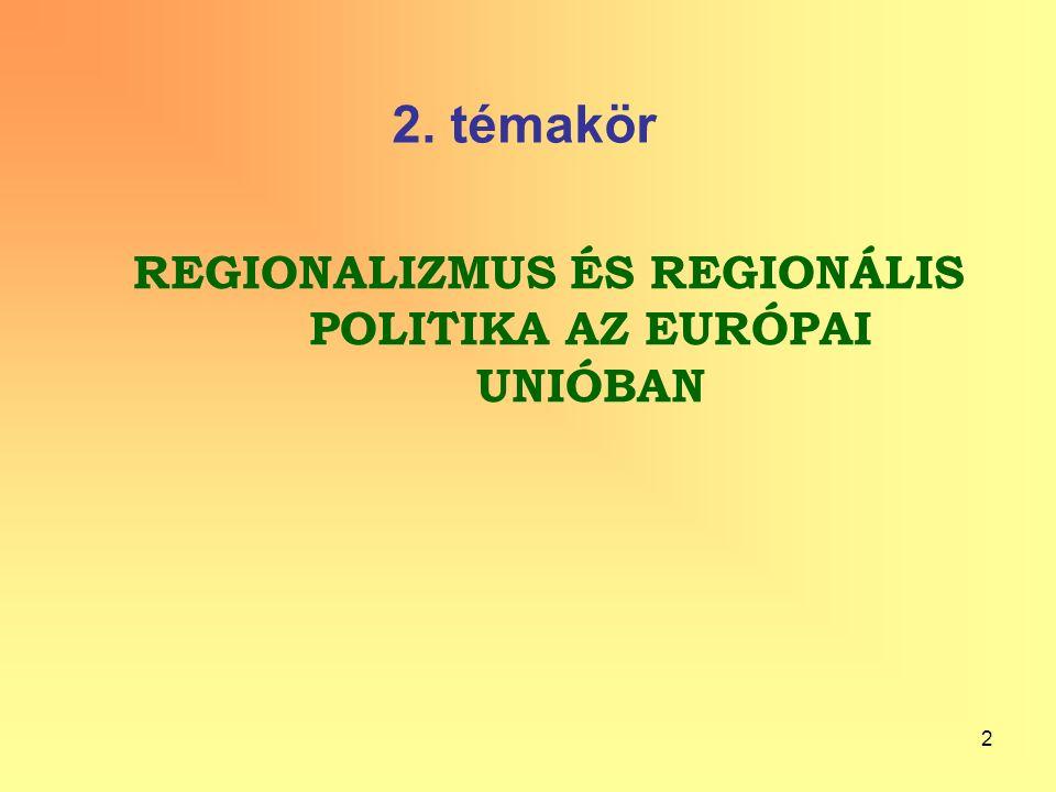 2 2. témakör REGIONALIZMUS ÉS REGIONÁLIS POLITIKA AZ EURÓPAI UNIÓBAN