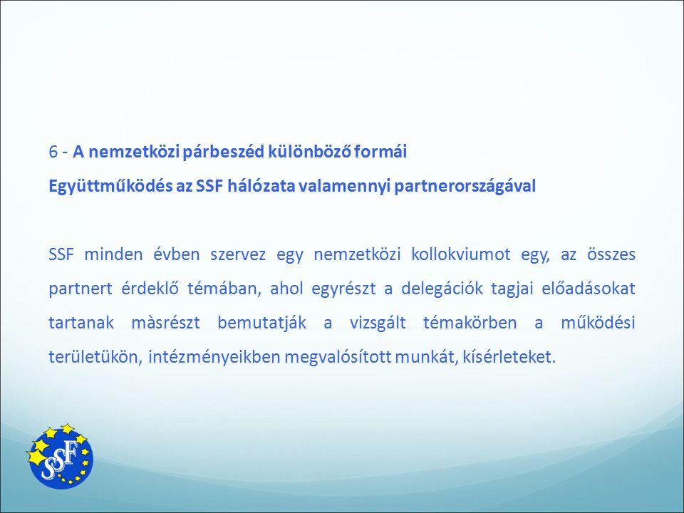 6 - A nemzetközi párbeszéd különböző formái Együttműködés az SSF hálózata valamennyi partnerországával SSF minden évben szervez egy nemzetközi kollokv