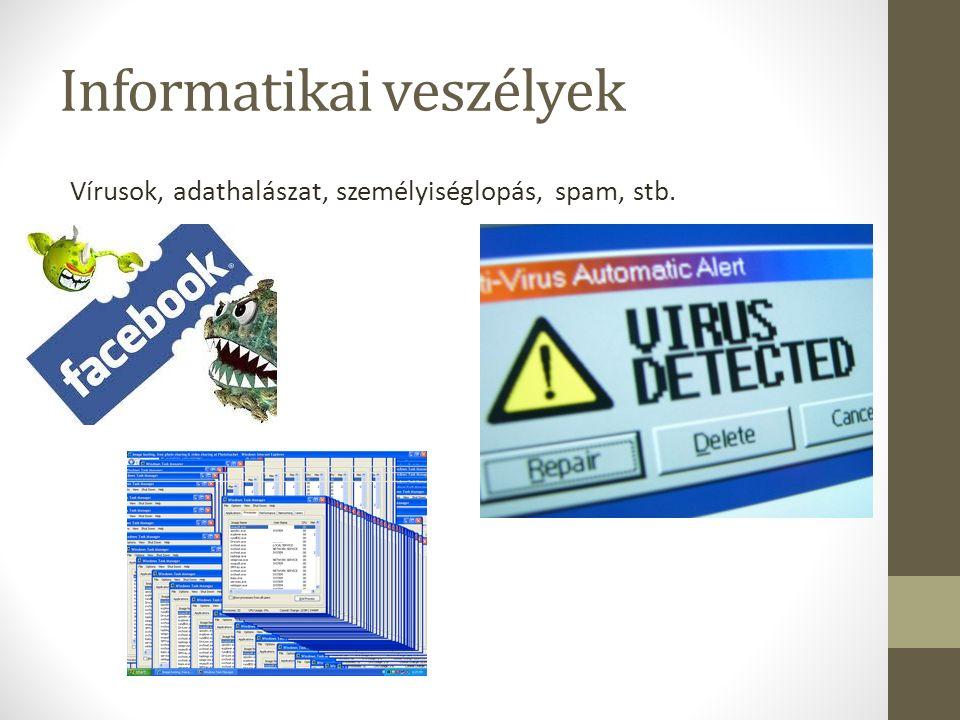 Informatikai veszélyek Vírusok, adathalászat, személyiséglopás, spam, stb.
