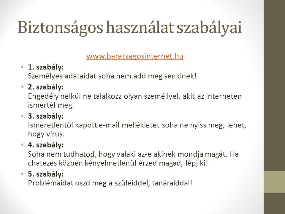 Biztonságos használat szabályai www.baratsagosinternet.hu 1.